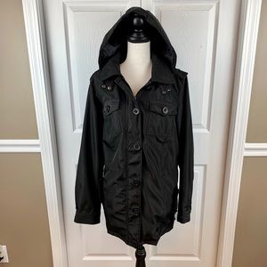 Weather Resistant, Drawstring Waist, Hooded Coat